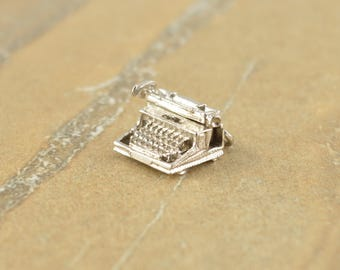 Detailed 3D Typewriter Charm Sterling Silver 4.5g