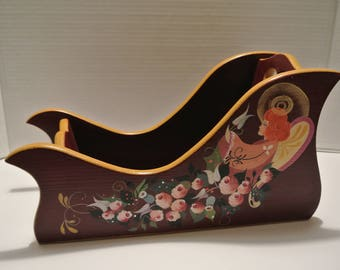 "Decorative wood sled - handpainted - 13 ""x 7"""