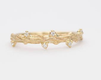 Diamond on Carved Branch Twig 14K Gold Wedding Band Stackable Ring Rose Thorn AD1275