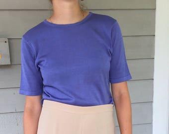 Vintage 90s Periwinkle Minimal 100% Silk Rib Knit Tee T-Shirt | S