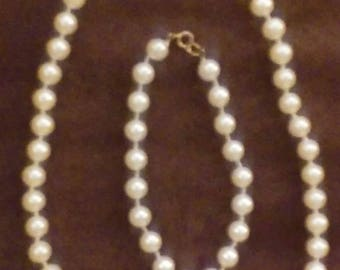 A Faux Pearl Choker & Bracelet Set!