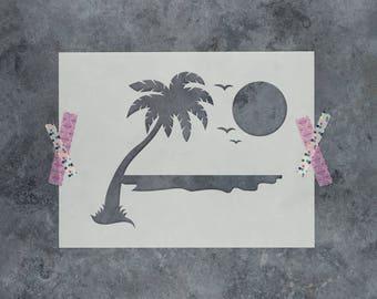 Beach Stencil - Laser Cut Mylar Stencil Beach Scene
