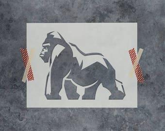 Gorilla Stencil - Reusable DIY Craft Stencils of a Gorilla