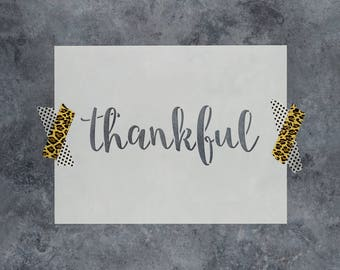 "Thankful Stencil - Reusable DIY Craft Sign Stencils of the Word ""Thankful"" - Better than Thankful Decals!"