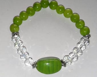 Green and Clear Beaded Bracelet with Silver Spacers