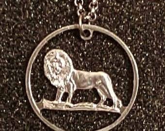 Lion Democratic Republic of the Congo 25 Centimes Cut Coin Necklace Pendant
