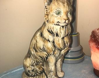 Vintage 11 1/2 in handmade Green Eyed Cat Statue