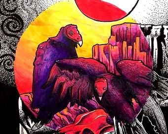 Ink/Color print: Vultures