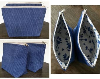 Mini Diamond Quilted Denim Cosmetic Pouch, Cosmetic Pouch, Denim Pouch, Zippered Pouch, Toiletry Bag