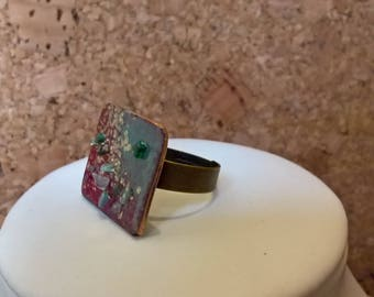 celadon green and red enameled copper with green and glitter encrusted crystals ring gold