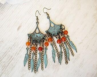 Dangle Metal Bohemian Earrings Earrings Feathers Gyspy Earrings Summer Agate Statement Earrings Dangle Feather Earrings Hippie Earrings
