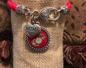 United States Marine Corps red leather lobster claw bracelet with domed charm with personalized accent charm of choice