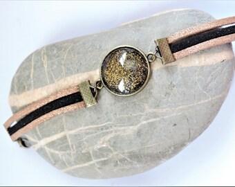 Bracelet suede cabochon varnished black and gold ღ ღ ღ ღ