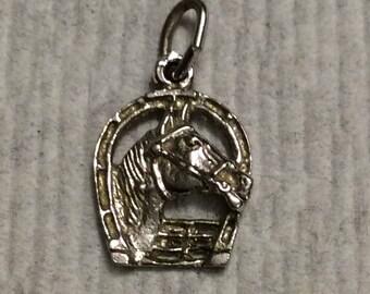 Vintage Sterling Silver Horse/Horseshoe Charm for your Bracelet or Pendant