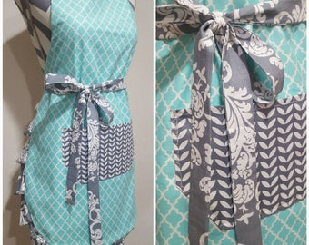 Adult Apron | Womens Apron | Teal with Gray Pattern Waist Bow Tie and Pocket, Ruffle Bottom