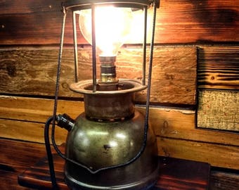 Retro Industrial edison Style lantern Table Lamp- steampunk decor, tilly lamp