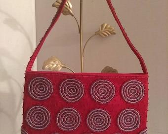 Red Beaded Purse, Indonesia Handbag, Handmade Purse, Fashion Accessory, Boutique