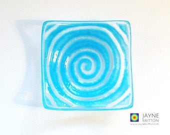 Glass spiral bowl, blue glass dish, tea light candle holder, gift, self discovery gift, earring dish, tealight holder, labyrinth design