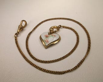 Antique Art Nouveau 12kt Gold Filled Pocket Watch Chain With Enameled Heart Fob
