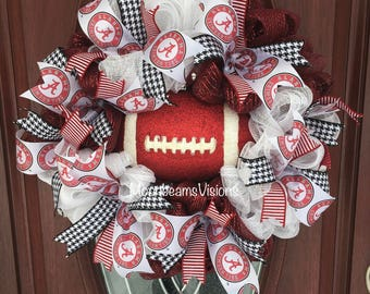 Alabama Crimson Tide wreath, Alabama wreath, football wreath, Alabama football wreath, outdoor wreath, Alabama front door wreath, roll tide