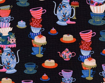 One Yard Cut - Mad Tea Party in Black - Wonderland by Rifle Paper Company -  Quilters Cotton