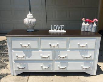 SOLD: Gorgeous shabby chic 7 drawer dresser