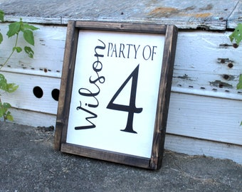 Party of (#) Name Family Sign/Customized Sign/8x10 Customized Party of Sign