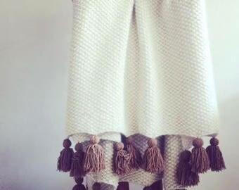 50x60 large merino wool with camel tassels