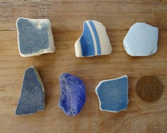 SEA POTTERY PIECES ~ Blue Seapottery and Sea Glass ~ Beautiful Sea Treasure ~ Beach Combed Pieces ~ Jewellery Making ~ Craft Supplies