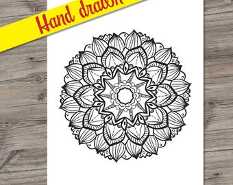 Printable Coloring Page - Adult Coloring Page, PDF printable, Mandala - Instant Download only