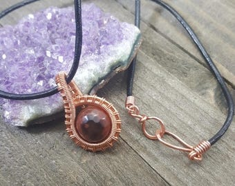Fire Agate Handmade Wire Wrapped Pendant