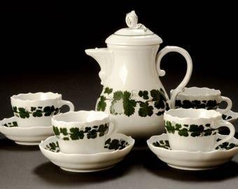 MEISSEN · Wine wreath vine · 1951 · China's # 1 choice · Mocha set · Pot cups saucers