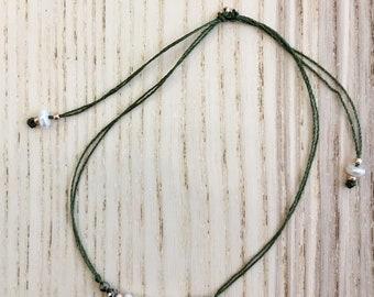 Khaki Pearl and pyrite bracelet