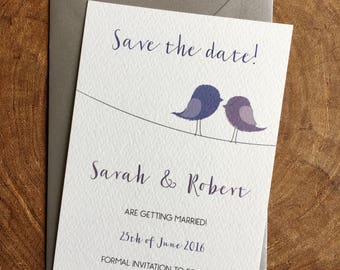 Printable personalised wedding Save the date card - Love birds