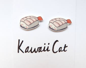Sterling Silver Sushi Stud Earrings Cute Kawaii Silver Plated Food Theme Japanese Bento Box Sushi Fun Earrings
