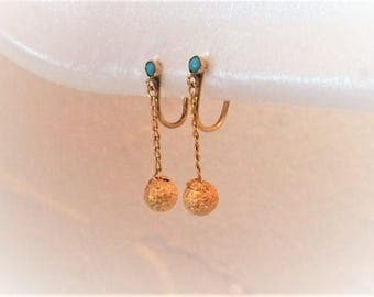 Estate 14k Yellow Gold Genuine Turquoise Clip On Clipon Earrings 14 K kt 14kt Vintage Dangle on Chain 1.4g Round Ball Sphere Post Screw Back