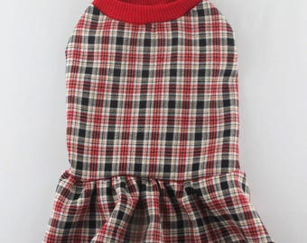 Sleeveless Plaid Dog Dress Dog Clothing Dog Apparel, Made in USA for Small Dogs Only