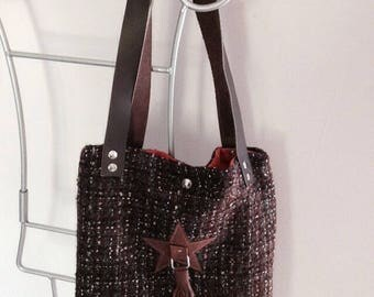 tweed and brown leather tote