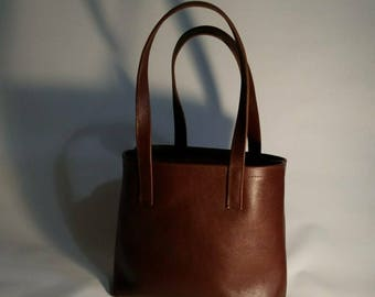 Brown Leather Tote Bag, Handmade Leather Handbag, Leather Bucket Bag, Medium Leather Shoulder Bag, Satchel, Sturdy Tote