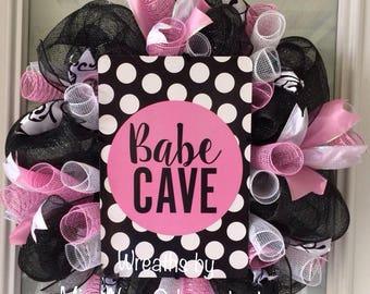 Babe Cave girl teen bedroom room, pink, black, white