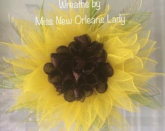 Small Yellow SUNFLOWER wreath, fall, summer,
