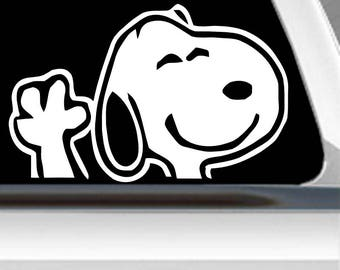 Snoopy sticker | FREE SHIPPING | Snoopy waving decal | Snoopy decal | Snoopy window decal | disney decal