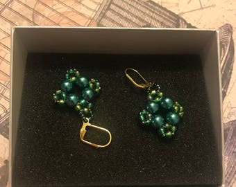 Jade Green Bead Earrings