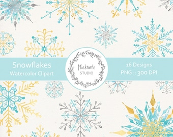 Watercolor Snowflake Flags Clipart - 16 images, 300dpi, PNG - Snowflake Clip Art - Watercolor Snowflake Clipart - Instant Download