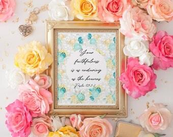 Psalm 89, Dorm decor, Nursery, Dorm art, Psalm 89:1-2 printable,  print, Inspirational quote, cell phone wallpaper