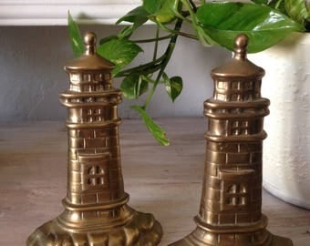 Brass Lighthouse Bookends