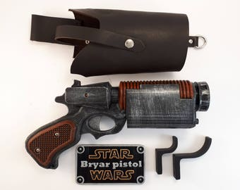 Star Wars  Bryar pistol + real leather holster   - Battlefront - 3D printed - cosplay - props - gun -weapon