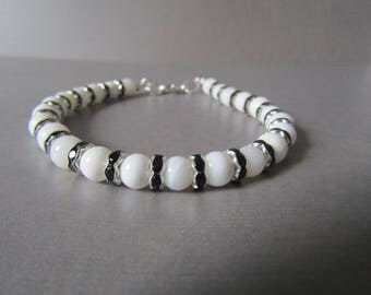 Snow White Jade & Black Crystal Bead Bracelet Gorgeous Gift!!
