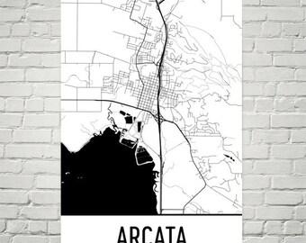Arcata California Map, Arcata Art, Arcata Print, Arcata CA Poster, Arcata Wall Art, Arcata Gifts, Map of California, California Decor