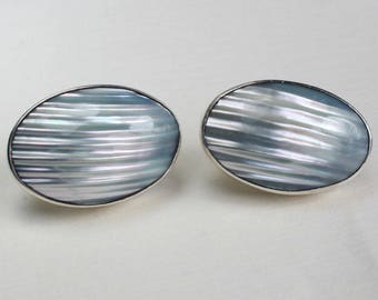 Polished Shell Grey Violet Purple Earrings Sterling Silver Studs Large